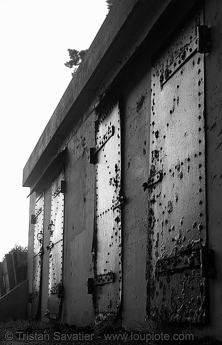 bunker doors, abandoned, armored doors, bunker, metal, rivets, rusted, rusty