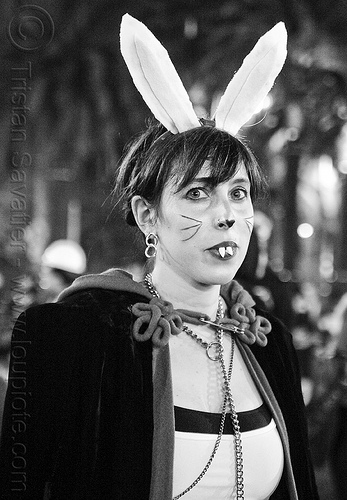 bunnicula costume, bunny, bunny ears, embarcadero, halloween, journey to the end of the night, justin herman plaza, people, vampire, vampire teeth, woman