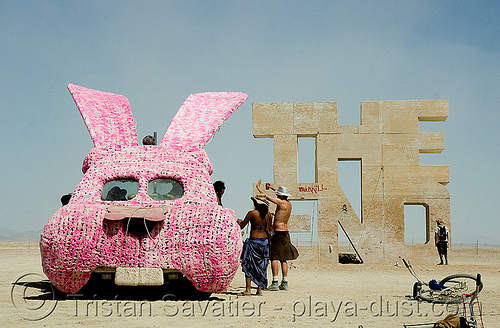 bunny car at  the end - bunny mobile - bunny van - burning man 2008, art car, bunny car, bunny mobile, bunny van, burning man, lorry, mutant vehicles, pink, plush, rabbit, truck