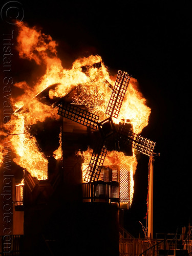 burn of the folly windmill - burning man 2019, art installation, burning man, fire, night, the folly, windmill