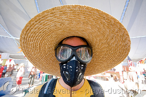 burner with straw hat and dust mask - respirator - burning man 2008, 3m respirator, burner, burning man, center camp, dust mask, goggles, straw hat