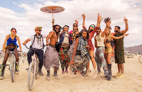 burners jumping on the playa - burning man 2016, burning man, danielle, jump shot, men, umbrella, woman