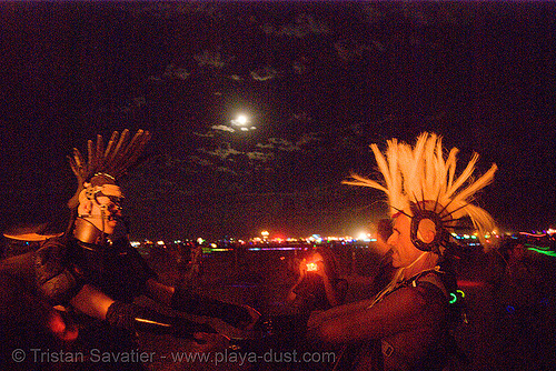 burners under the full moon - burning man 2007, burning man, full moon, night of the burn