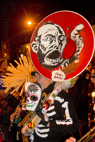 burning band tuba player in skeleton costume, burning band, day of the dead, dia de los muertos, halloween, marching band, music, musician, night, skeleton costume, sousaphone, sugar skull mask, tuba player