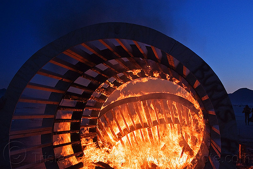 burning cylindrical wooden frame, burning man, cylinder, cylindrical, dusk, fire, frame, wood, wooden