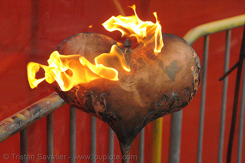 burning heart, burning man fire arts exposition, charles gadeken, fire heart, flames, heart on fire, love, metal, sculpture