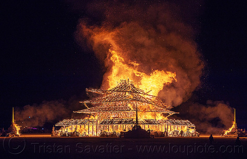 burning temple collapses - burning man 2016, burn, burning man, fire, flame, night, temple