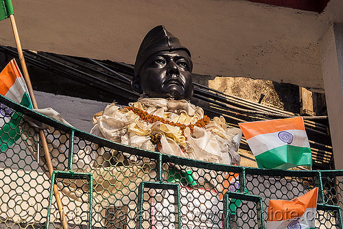 bust monument of a famous indian leader - darjeeling (india), darjeeling, flags, india, man, monument, sculpture, statue