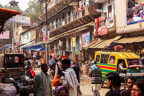 busy market street - daraganj (india), auto rickshaw, crowd, daraganj, hindu pilgrimage, hinduism, india, maha kumbh mela, shops, walking