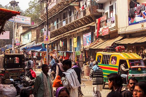 busy market street - daraganj (india), auto rickshaw, crowd, daraganj, hindu, hinduism, maha kumbh mela, market, shops, street, walking