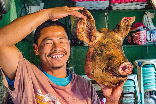 butcher holding singed pig head (philippines), baguio, butcher, man, meat market, philippines, pig head, pork, raw meat