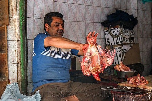 butcher preparing a freshly slaughtered chichen, blood, bloody, butcher, chicken, delhi, dismembering, halal, man, meat market, meat shop, meat shot, poultry, raw meat, skinning
