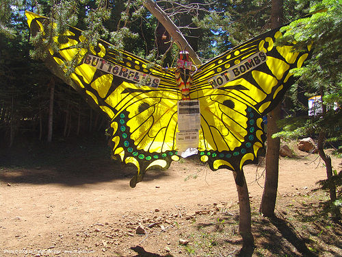 butterflies-not-bombs - rainbow gathering - hippie, butterfly, hippie, kite, rainbow family, rainbow gathering, yellow