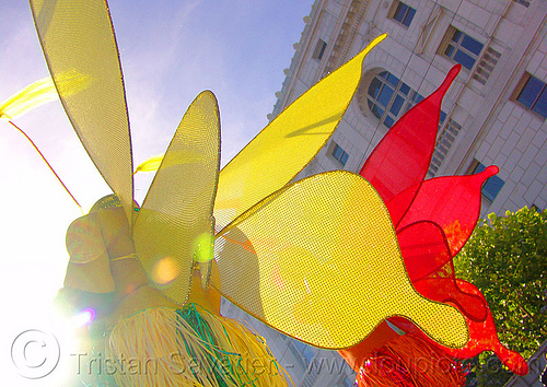 butterfly costumes, backlight, butterflies, butterfly wings, costumes, gay pride festival, gay pride parade, red, sf gay pride, yellow