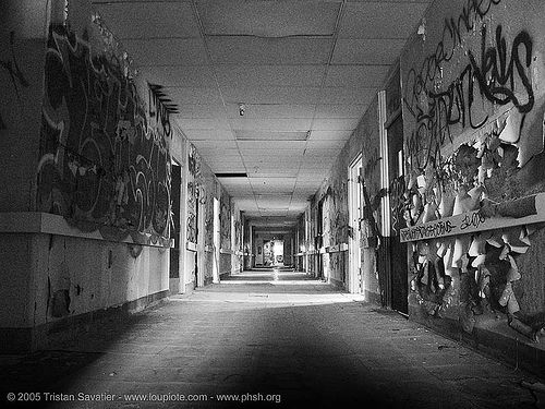 bw-v2 - phsh, abandoned building, abandoned hospital, creepy, decay, eerie, graffiti, hallway, presidio hospital, presidio landmark apartments, spooky, trespassing, urban exploration