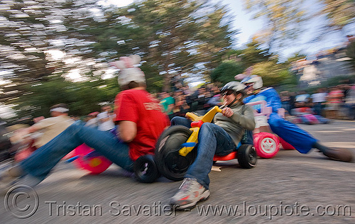 "BYOBW - ""bring your own big wheel"" race - toy tricycles (san francisco), big wheel, drift trikes, moving fast, people, potrero hill, race, speed, speeding, toy tricycle, toy trike, trike-drifting"