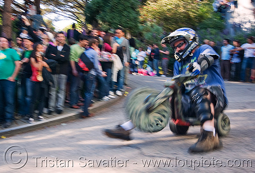 "BYOBW - ""bring your own big wheel"" race - toy tricycles (san francisco), big wheel, drift trikes, full face helmet, motorcycle helmet, moving fast, potrero hill, race, speed, speeding, toy tricycle, toy trike, trike-drifting"