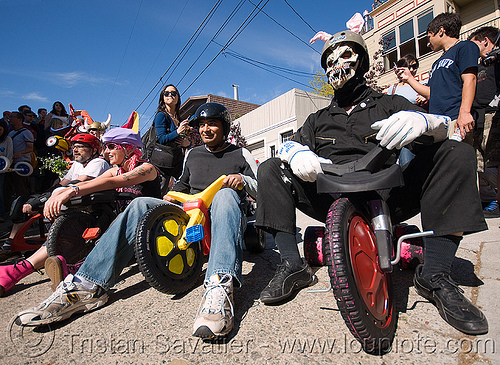 "BYOBW - ""bring your own big wheel"" race - toy tricycles (san francisco), bicycle helmet, drift trikes, people, potrero hill, toy tricycle, toy trike, trike-drifting"