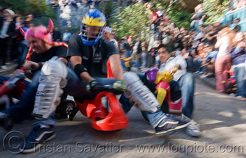 "BYOBW - ""bring your own big wheel"" race - toy tricycles (san francisco), big wheel, drift trikes, football helmet, moving fast, potrero hill, race, speed, speeding, toy tricycle, toy trike, trike-drifting"