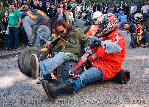 "BYOBW - ""bring your own big wheel"" race - toy tricycles (san francisco), big wheel, drift trikes, full face helmet, motorcycle helmet, moving fast, potrero hill, race, speed, speeding, toy tricycle, toy trike, traffic accident, trike-drifting"
