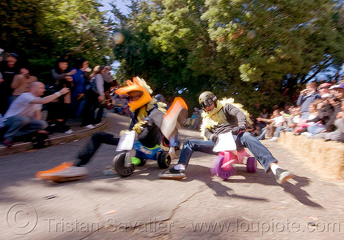 "BYOBW - ""bring your own big wheel"" race - toy tricycles (san francisco), big wheel, byobw 2011, drift trikes, moving fast, potrero hill, race, speed, speeding, toy tricycle, toy trike, trike-drifting"