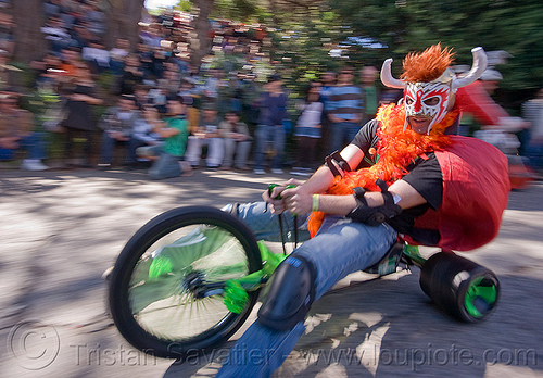 "BYOBW - ""bring your own big wheel"" race - toy tricycles (san francisco), big wheel, byobw 2011, drift trikes, moving fast, potrero hill, race, speed, speeding, toy tricycle, toy trike, trike-drifting, wrestler costume"