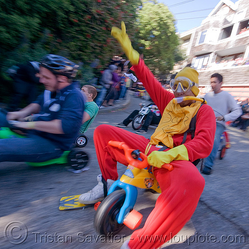 "BYOBW - ""bring your own big wheel"" race - toy tricycles (san francisco), big wheel, byobw 2011, drift trikes, moving fast, potrero hill, race, scuba gear, scubadiver costume, speed, speeding, toy tricycle, toy trike, trike-drifting"
