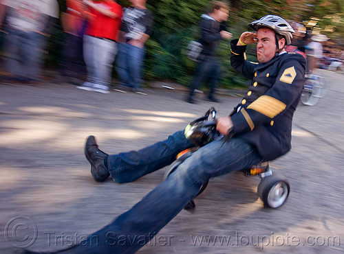 "BYOBW - ""bring your own big wheel"" race - toy tricycles (san francisco), big wheel, byobw 2011, drift trikes, military costume, moving fast, potrero hill, race, speed, speeding, toy tricycle, toy trike, trike-drifting"