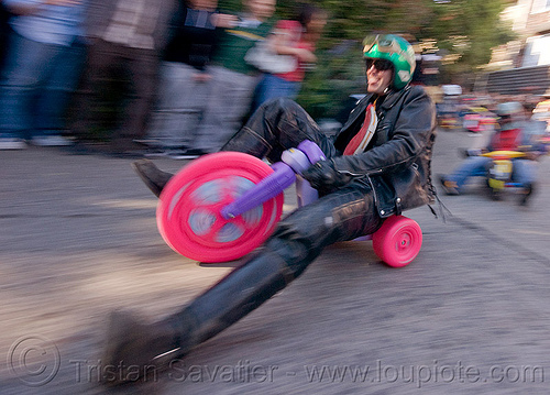 "BYOBW - ""bring your own big wheel"" race - toy tricycles (san francisco), big wheel, byobw 2011, drift trikes, leather costume, leather jacket, motorcycle helmet, moving fast, potrero hill, race, speed, speeding, toy tricycle, toy trike, trike-drifting"