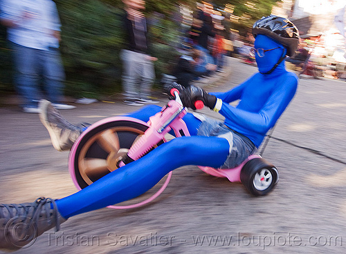 "BYOBW - ""bring your own big wheel"" race - toy tricycles (san francisco), blue costume, byobw 2011, drift trikes, fast, moving, moving fast, people, potrero hill, speed, speeding, toy tricycle, toy trike, trike-drifting"