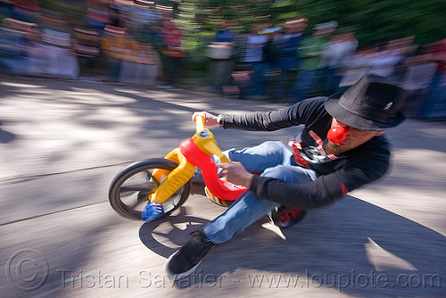 "BYOBW - ""bring your own big wheel"" race - toy tricycles (san francisco), big wheel, byobw 2011, clown nose, drift trikes, hat, moving fast, potrero hill, race, speed, speeding, toy tricycle, toy trike, trike-drifting"