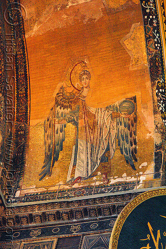 byzantine angel - aya sofya (istanbul), angel wings, architecture, aya sofya, byzantine, church, frescoes, hagia sophia, inside, interior, islam, mosque, orthodox christian, painting, religion, sacred art