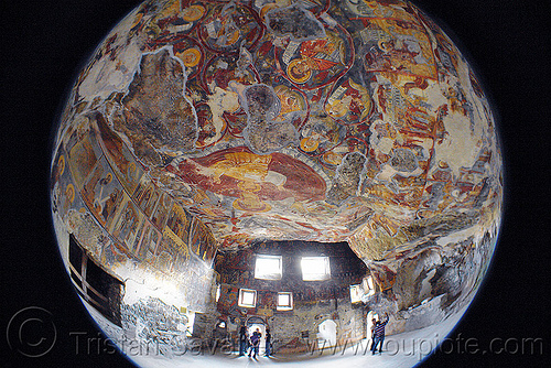 byzantine frescos on ceiling of the cave church - Sümela monastery (turkey), byzantine art, fisheye, frescoes, orthodox christian, painting, religion, sumela, sümela monastery, trabzon