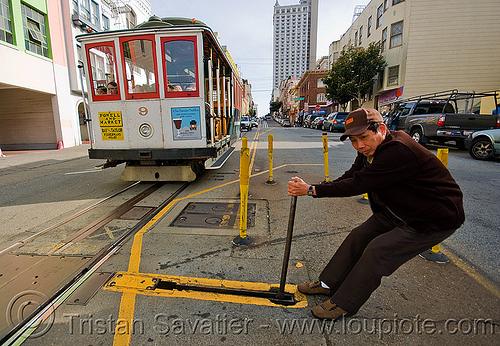 cable car switch - powell street (san francisco), cable car, man, muni worker, powell st, powell street, railroad switch, railroad tracks, railway tracks, the point