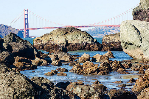 california coast before the oil spill - golden gate bridge (san francisco), lands end, ocean, rocks, sea, suspension bridge