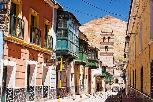 calle tarija - cerro rico - potosi (bolivia), calle tarija, cerro rico, colonial architecture, houses, perspective, potosí, street, vanishing point