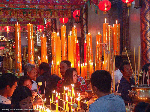 candles in chinese temple - สุโขทัย - sukhothai - thailand, candles, chinese, offerings, sukhothai, thailand, wat, สุโขทัย