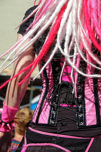 candy raver - gay pride (san francisco) - jendoll, black, clothing, corset, cyberkitty, dancing, dreadfalls, fashion, gay pride festival, jen, jendoll, jendoll_cyberkitty, kandi kid, kandi raver, pink hair, plur, raver outfits, sf gay pride, trance, waist, waistline, woman