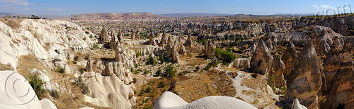 cappadocia erosion landscape - tuff formations - fairy chimneys - panorama, cappadocia, cave dwellings, caves, erosion, fairy chimneys, geology, goreme, göreme, hoodoos, panorama, rock formations, rock houses, rocks, stitched, troglodyte, village, volcanic tuff