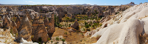 cappadocia landscape - tuff formations - fairy chimneys - erosion - panorama - uchisar (turkey), cave dwellings, caves, geology, hoodoos, rock formations, rock houses, rocks, stitched, troglodyte, uchisar castle, village, volcanic tuff, Üçhisar, Üçhisar castle
