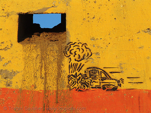 car crash stencil graffiti (san francisco), accident, car accident, ocean beach, orange, street art, wall, yellow