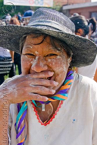 carnaval - carnival in jujuy capital (argentina), andean carnival, carnaval, jujuy capital, noroeste argentino, san salvador de jujuy, straw hat, woman