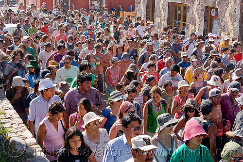carnaval in the street  - tilcara (argentina), andean carnival, carnaval, crowd, noroeste argentino, parade, people, quebrada de humahuaca, street, tilcara