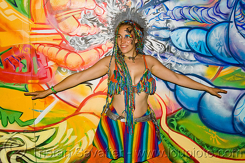 carolina sunshine at the sand by the ton rave party (oakland), corolina sunshine, mural, oakland, painting, party, raver, sand by the ton, woman