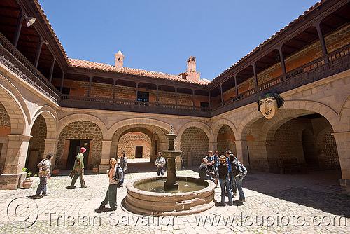 casa de la moneda - courtyard - potosi (bolivia), casa de la moneda, casa nacional de moneda, couryard, fountain, mint, minting, potosí