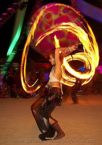 casandra spinning fire - burning man 2007, burning man, casandra, fire dancer, fire dancing, fire performer, fire spinning, flames, long exposure, night, spinning fire