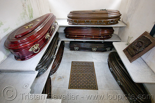 caskets in tomb - crypt - recoleta cemetery (buenos aires), argentina, buenos aires, caskets, coffins, crypt, grave, graveyard, recoleta cemetery, tomb, vault