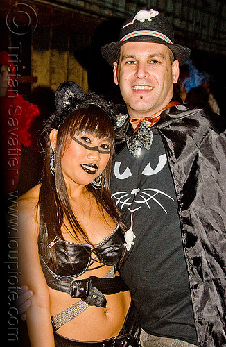 cat and mouse costumes - ghostship halloween party on treasure island (san francisco), cat, costume, ghostship 2009, halloween, leather, man, party, white mouse, woman