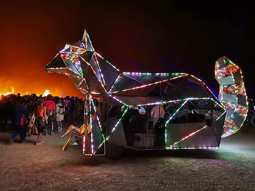 cat art car - burning man 2019, burning man, cat art car, mutant vehicles, night, unidentified art car