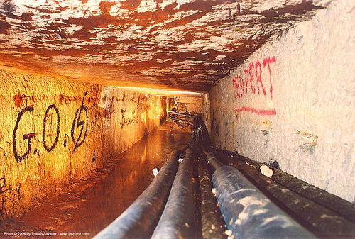 catacombes de paris - catacombs of paris (off-limit area) - G.O. (gestapo des ondes), avenue d'orleans, cave, g.o., long exposure, perspective, trespassing, tunnel, underground quarry, vanishing point